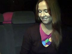 Naughty guys seduced young hot girl Mancy to please them with naughty blowjob and passionate fuck in their car and paid her money.