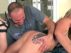 Provocative cheating blonde wife Dayna Vendetta with big juicy hooters and huge tattoos ass in high heels only teases tall handsome stud Jmac gets rammed from behind to loud orgasm.