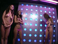 Three sexy porn stars are in the studio of the morning show to plays some fun games. They have to dance around nude and see who can break the most balloons with their feet. A couple is interviewed about their sex life.