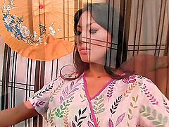 Asa Akira with bald bush gets her mouth stretched by beefy stiff ram rod of horny dude