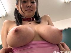 Stunning Japanese teacher undresses in a classroom to show her amazing body. After that she gives a titjob and rides a dick in POV video.