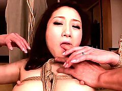 Pretty hot and young Asian chick Yu Kawakami is having her hairy pussy masturbated by three fucker friends tied up with rope.