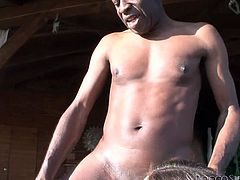 Cum addicted bitches in camouflage clothing are having a good time with one cocky stud. They are taking turns sucking his rigid cock one by one. Extremely exciting interracial orgy! Enjoy!