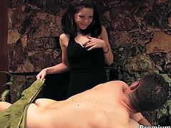 Tired businessman visits a massage salon to relax after hard working week. Slutty brunette hussy gives him a fantastic erotic massage before she starts rubbing his hard cock with hand. Later he banges her in doggy, missionary and cowgirl styles.