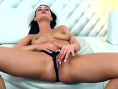 Horny slutty brunette bitch Dana Weyron enjoys a lone session of fingering herself and orgasming.