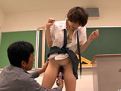 Akina is whorish student who loves having sex with elder men but showing the opposite with her emotions. So watch her getting fingered by her horny teacher.