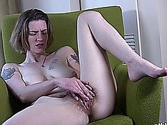 Awesome hot beauty with hairy pussy