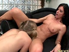 Blonde in pigtails eats out cunt of India Summer