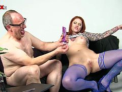 She's horny, filthy and redhead! Tease deserves what this guy does with her pussy and enjoys it to! First she sucks his cock and then receives a deep fuck from behind before the dude plays with her pink cunt. That pussy is not roomy enough for his hand but it will stretch! Enjoy the show!