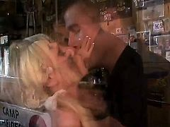 Exciting blonde babe Angelina Ashe is a waitress in the local bar. She looks always amazing and every client dreams to fuck this exciting beauty. This man was sexy and she decided to present him hot love.