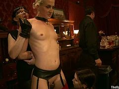 Lustful slave bitches get tied up and suspended in air. They stimulate each other's cunts with huge vibrators and get fingered by their kinky masters.