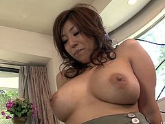 Sex greedy daddy calls up a busty Japanese prostitute in seductive leopard-printed lingerie. He enjoys sucking her oversized tits before he gets to her beaver for a finger fuck and drill with dildo.