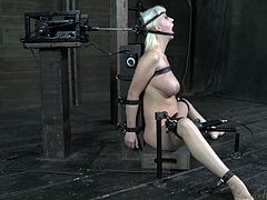 A fucking machine is strapped on her head and the executor stays still as the machine moves her head in and out. He drills her beautiful mouth without even moving and our blonde beauty feels the rhythm and roughness of the merciless machine. Yeah that's how we use mechanics for a good bdsm fuck