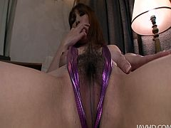 Amazing hottie Araki Hitomi has sex toys to please her hairy pussy tonight