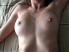 Feeling huge cock in her tight pussy makes her scream of pain and pleasure