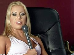 Hot and horny blonde pornstar Nikki Thorne enjoys in giving an interview and seducing her interviewer as well for a hot pussy fingering, licking and pounding after the interview