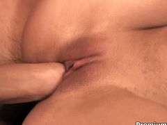 This sex starved bitch is worthy of your attention. She sucks her lover's dick with passion and then he drills her tight pussy hard driving her nuts. Fantastically exciting sex scene!
