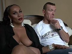 Salacious shemale Graziella Toledo is having fun with a guy called Paolo. She pets the man ardently and then destroys his ass with her massive schlong.