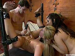 Nasty girl Isis Love is getting her punishment in this scene. James Deen ties her up and makes her eat some chick's pussy before he pokes his dick into her mouth and vag.