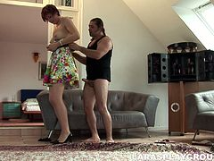This British hooker is surely great pro in sucking a fat dick for cum. Kinky nympho with big ass bends over the couch, stretches legs in stockings wide for being fucked by spoiled dude from behind right away.