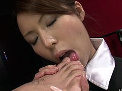 Voluptuous brunette works as a waitress. Hot slim Japanese chick helps to relax the tired man. She massages his feet and kneels down for giving a stout blowjob for cum.