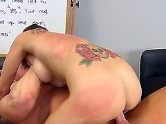 Teen with big tits Mae Meyers likes fucking her teacher and making him splash her face