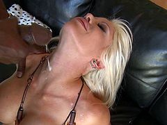 Busty blonde milf enjoys black cock fucking her brains out and making her swallow