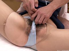 Sexy Japanese girl gets her tits massaged and hairy pussy licked. After that she gets fucked on a bed.