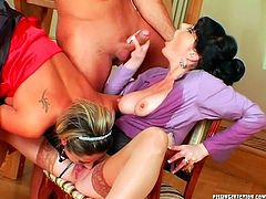 Spoiled white milfs in steamy lingerie and stockings make out with a cocky daddy. One of them get banged in doggy pose, while she gives a head to sextractive brunette in sizzling hot threesome sex video by Tainster.