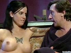 Bewitching brunette secretary Tricia Oaks asks her boss Steve Holmes to punish her and Steve agrees instantly. He ties the cutie up and destroys her sweet asshole with his hard prick.