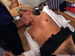 Pack of Porn sex clip presents a really voracious blondie. This bitch usually ends up her working day with a tough foursome. Spoiled whore in glasses jams her tits and starts riding dicks, giving stout blowjobs and wanna get her hairy pussy polished doggy tough.