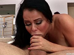 She loves big cocks and has a great time sucking this one but when the guy decides it's time to fill her ass with it the bitch begins to moan as he rips her pussy. Check her out filling her throat with that dick and then bending over to receive a deep hard pussy fuck. What a fucking whore, she deserves a big load
