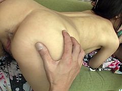 Delicious Japanese harlow welcomes a tongue fuck of her hairy pussy from rapacious wanker before she kneels down to give double oral fuck to two aroused penises in sultry threesome sex video by Jav HD.