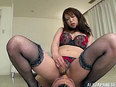 She loves, when men eat her twat and babe loves it in a rough manner, being the dominating side. So Riri Ouka is face sitting on her man!