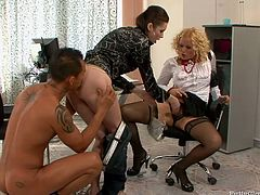 Extremely perverted hotties get fucked in threesome