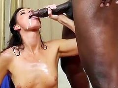 After explaining to him that their sexual relationship had gotten to a drastic point, this hottie brings in a guy to teach her husband new trick. Watch her riding a big black cock in front of her hubby.