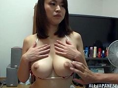Hot Kaede Niiyama gets her hot tits licked and massaged. After that she comes up to a guy to suck his dick. She also gives skillful titjob to this lucky guy.