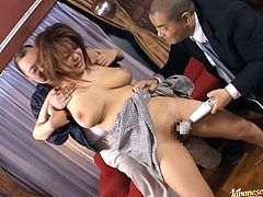 Chubby Japanese slut Chichi Asada shows her snatch to two men. The dudes tocuh Chichi's vag and then rub it with toys.
