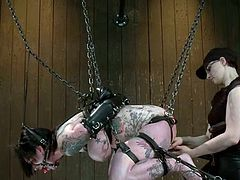 This lusty and sizzling honey Kathryn Dupri loves, when this sadist arches her and then hangs her up with chains. Pain is what these people love.