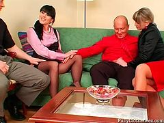 Torrid blond and black heads have a double date at home. What's for to waste time on chatting. The best way to know each other is group sex. Slutty chicks in tight skirts kneel down for giving solid blowjobs to be fed with delicious gooey cum.