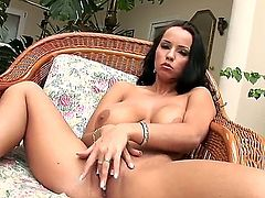 Laura Lion with juicy boobs and clean cunt screams as she fucks herself with vibrator