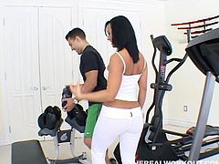 Sandra Romain is about to learn a new exercise routine. First this busty nymphette does 69 and that's followed by rough banging and cock blowing.