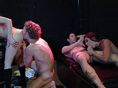 Arousing babes having hardcore porn session along hunks in wild group action scenes