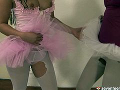 Two flirty brunette teens in playful tutus maul each other's steamy bodies before they take an oversized pink dildo to drill their shaved cunts and finger fuck them in the interim.