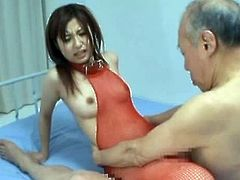 This slutty babe loves sex with old guys because they have a lot of experience. She sits on his face and then she gets fucked as she wanted.