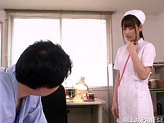 Sexy Japanese nurse Ai Nikaidou is having fun with some guy in a hospital. She pleases the dude with a blowjob and then takes an ardent ride on his hard dick.