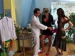 Sextractive mom and daughter come to the clothing store to purchase some original outfits for birthday party. They try out hot outfits before a horny sales person starts petting a salty mom from behind.