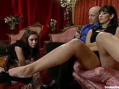 Derrick Pierce, Isis Love and some hot bitch are having fun in the living room. Mark and his GF tie the chick up and play with her body before fucking her pussy and ass as hard as they can.