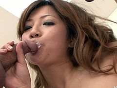 Dude, don't pass by this really hot Jav HD sex clip. Torrid gal with shining chestnut hair is pro in pleasing men. Appetizing pale chick is a real expert in sucking dicks for cum. Awesome nympho with sweet tits is just a dream girlie of any man.