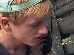 While two young male hikers are having sex in a make-to lean-to in the woods, a third hiker shows up and is invited to join the first two.